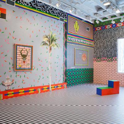 #pizzaparty, 2013. Axenéo7, Gatineau. Installation de papier sérigraphié, 715 cm x 366 cm x 389 cm. Photographie: Rémi Thériault