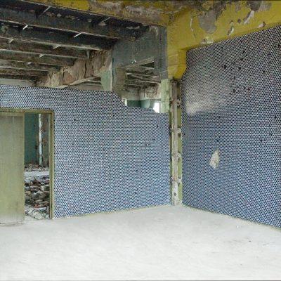 Abandonned factory, 2010, installation de papier peint, Tbilisi, Georgie