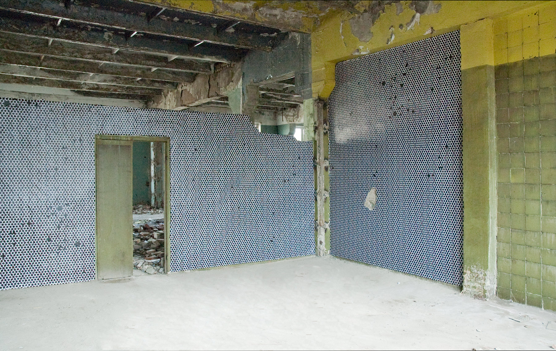 Abandonned factory, 2010, wallpaper installation, Tbilisi, Georgia3