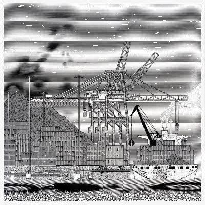 Container Ship, 2016, Linogravure, 200 x 200 cm