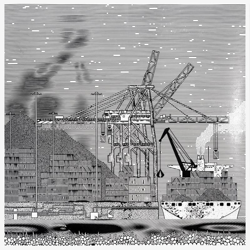 Container-Ship-2016-Linogravure200-X-200-cm-Linocut