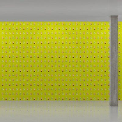 John Baldessari, « Nose/Popcorn - Yellow/Green », 2015, papier peint. ©Maharam