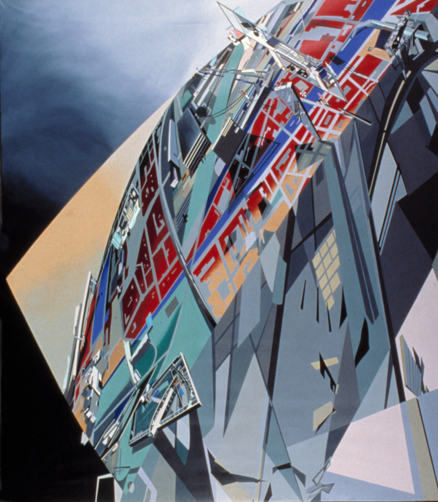 The World (89 Degrees), 1983. Acrylique sur toile. © Zaha Hadid