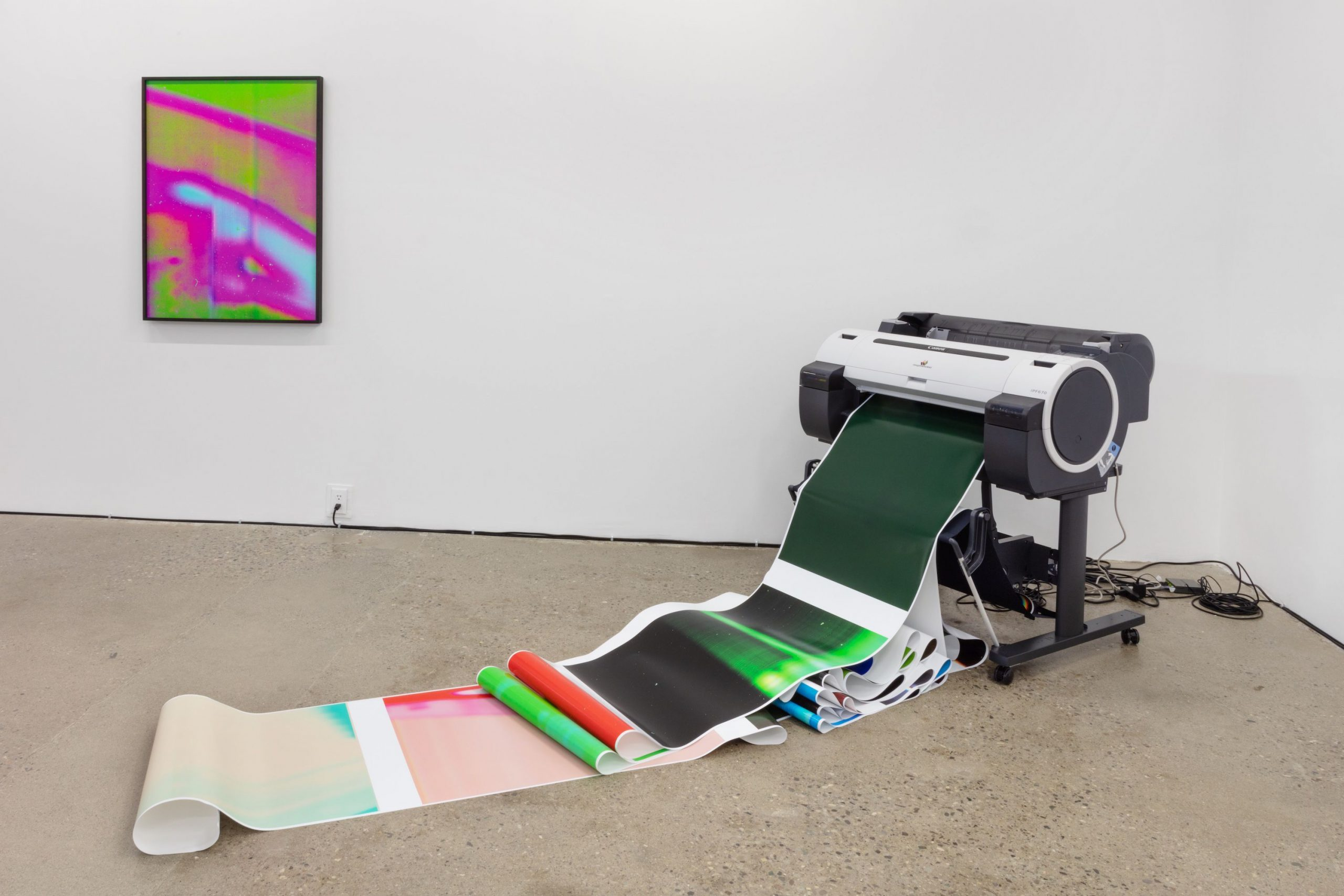 All We'd Ever Need Is One Another (Trio), 2019. Vue de l'installation. 3 flat bed scanners, 4 networked PC computers, large format printer, office supplies, office, light, inkjet prints, website, twitter, instagram.