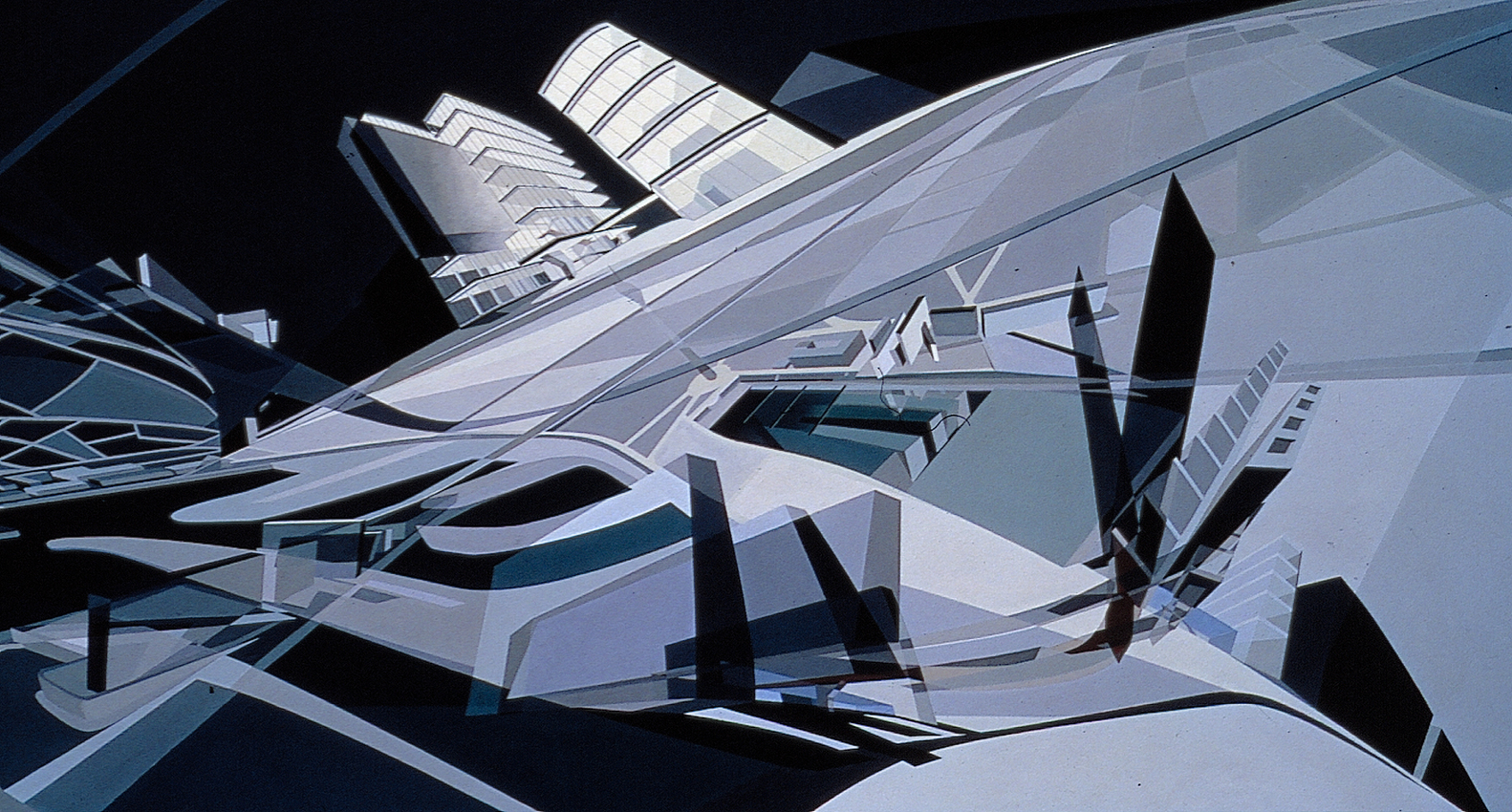 KMR Art and Media Centre, 1989/1993. Acrylique sur toile. © Zaha Hadid