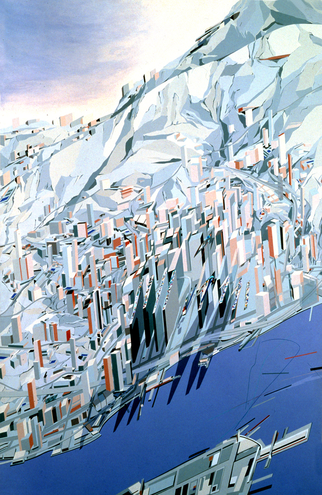 The Peak – Blue Slabs, 1983. Acrylique sur toile. © Zaha Hadid