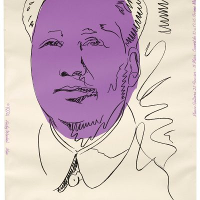 Mao screenprint in colours, 1974, on wallpaper, signed in felt tip pen, from the unnumbered edition of approximately one hundred impressions, published for the exhibition at the Musée Galliera, Paris, by Factory Additions, New York, 1018 x 755 mm.