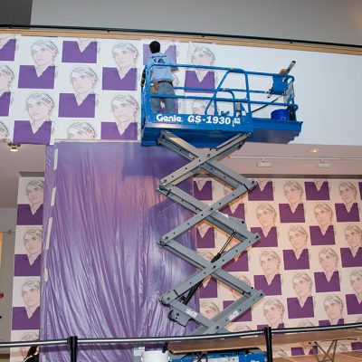 Installation of Warhol self-portrait wallpaper at Andy Warhol The Last Decade, The Baltimore Museum of Art, 2008. © The Baltimore Museum of Art