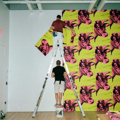 Andy Warhol retrospective, From A to B and Back Again, 2019, Whitney Museum of American Art. Photography © Daniel Arnold 2018.   Andy Warhol, Cow wallpaper, 1966.  © 2006 Andy Warhol Foundation for the Visual Arts / Artists Rights Society (ARS), New York