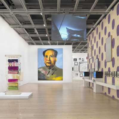 Installation view of Andy Warhol – From A to B and Back Again (Whitney Museum of American Art, New York, November 12, 2018–March 31, 2019). From left to right: Mylar and Plexiglas Construction, c. 1970; Mao, 1972; Willard Mass, Andy Warhol's Silver Flotations, 1966; Vote McGovern, 1972; Mao, 1973; White Painting [Torso], 1966. Photograph by Ron Amstutz. © 2018 The Andy Warhol Foundation for the Visual Arts, Inc. / Licensed by Artists Rights Society (ARS), New York