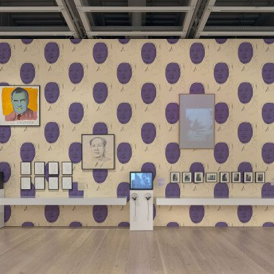 Installation view of Andy Warhol – From A to B and Back Again (Whitney Museum of American Art, New York, November 12, 2018–March 31, 2019).   From left to right: Factory Diary: Andy Paints Mao, 1972; Vote McGovern, 1972; Mao (Edition 4/300), 1973; Mao (Edition 27/300), 1973; Mao (Edition 32/300), 1973; Mao (Edition 39/300), 1973; Mao (Edition 103/300), 1973; Mao (Edition 204/300), 1973; Mao (Edition 242/300), 1973; Mao (Edition 261/300), 1973; Mao, 1973; Factory Diary: Andy Warhol, Geri Miller, Candy Darling at the Factory, c. 1971–72; Michael Kostiuk, Andy Warhol vacuuming the carpet for an installation piece at Finch College Museum of Art, c. 1972; White Painting [Torso], 1966; Ronald Nameth, Andy Warhol's Exploding Plastic Inevitable, 1966. Photograph by Ron Amstutz. © 2018 The Andy Warhol Foundation for the Visual Arts, Inc. / Licensed by Artists Rights Society (ARS), New York