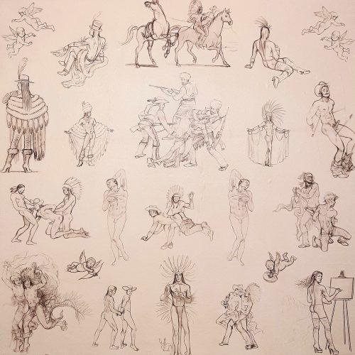"""Kent Monkman, Miss Chief's Wallflowers, 2017, papier peint imprimé sur vinyl autocollant, 366 cm x 61 cm (144"""" x 24"""").  Collection Claude Gosselin, © Centre international d'art contemporain de Montréal (CIAC MTL)."""