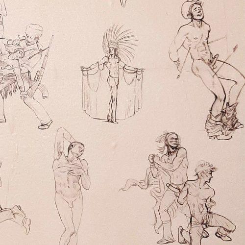 """Kent Monkman, Miss Chief's Wallflowers (détail), 2017, papier peint imprimé sur vinyl autocollant, 366 cm x 61 cm (144"""" x 24"""").  Collection Claude Gosselin, © Centre international d'art contemporain de Montréal (CIAC MTL)."""