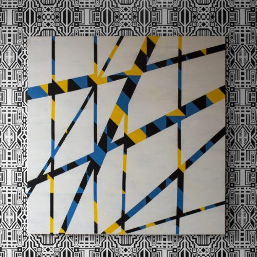 Caroline Monnet, Sans titre (papier peint), 2018. Installation de papier peint. Exposition Wanderlust, Galerie du Nouvel Ontario, Sudbury, Canada, 2018. Commissaire : Stefan St-Laurent.