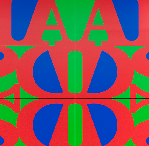 AA Bronson + General Idea, Great AIDS (Cadmium Red Light) (detail), 1990/2018, acrylic on linen, in four panels overall, 300 × 300 cm / each 150 × 150 cm. Courtesy: the artist and Maureen Paley, London