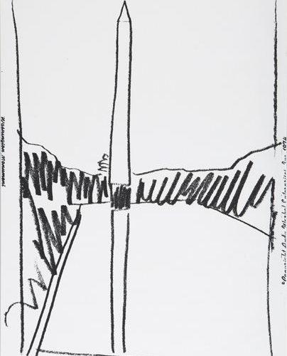 Washington Monument, 1974. Sérigraphie sur papier peint. 1114 mm × 752 mm (43 9/10 in × 29 3/5 in)