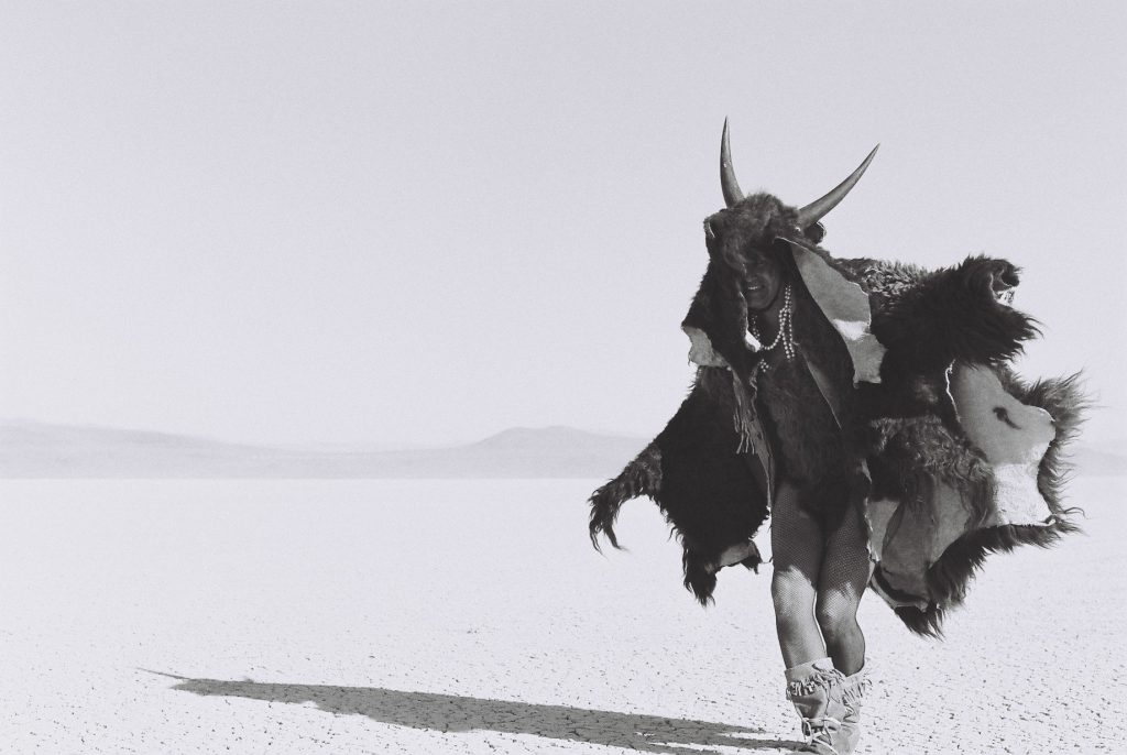 Adrian Stimson. Shaman Exterminator playing in the playa, 2005. Impression numérique