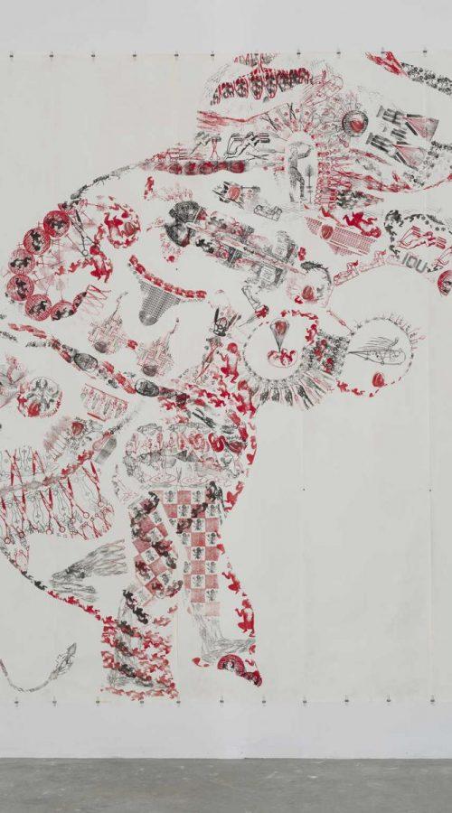 """Éléphant II, 1994.  Impression tampon encreur, 106"""" x 97'' (269 x 246 cm).  Exposition in situ : L'art du tampon, Musée de La Poste de Paris, Paris (France).  Collection de l'artiste.  © Musée de la Poste, Paris. Photographie : Guy L'Heureux."""