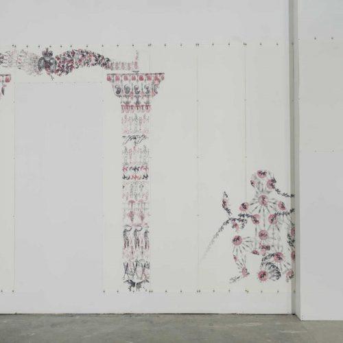 Les limbes, 1994.  Impression tampon encreur,  108'' x 139'' (274 x 353 cm).  © Guy L'Heureux
