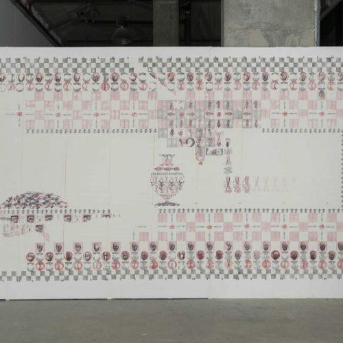 Indexer le lieu; Inscrire le corps, 1993.  Impression tampon encreur,  106'' x 292'' (269 x 741 cm).  © Guy L'Heureux.
